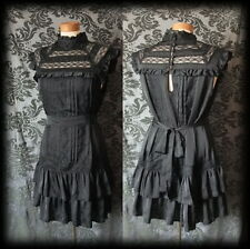 Gothic Black Victorian Neck Bib Detail GOVERNESS Satin Tea Dress 10 12 Vintage