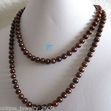 "37"" 6-8mm cofee Freshwater Pearl Necklace Pearl Strand Jewelry"