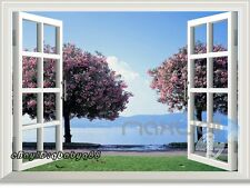 Cherry Blossom Tree 3D Window View Removable Wall Sticker DecalsHome Decor kids