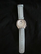 Men's Marc Ecko Primo Wristwatch Baby Blue Leather Watch w/Silver 00-829-1972
