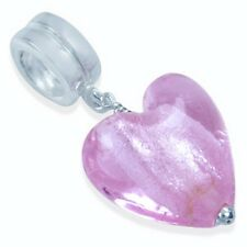 925 Sterling Silver Heart Pink Murano Glass Dangle Threaded European Charm Bead