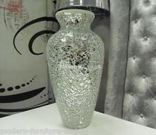 SILVER MIRRORED MOSAIC DECORATIVE VASE, CRACKLE GLASS V NECK VASE
