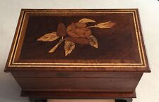 Handsome Vintage Walnut Floral Inlayed Hinged Wooden Box