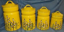 Treasure Craft 4 Pc Canister Set Ceramic Pottery Yellow Vtg Kitchen Decor MCM