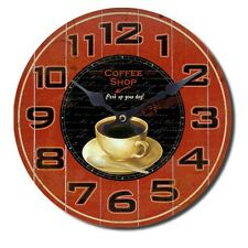 1 Wanduhr Küchenuhr Uhr Motiv Kaffee Coffee Tasse Vintage Retro Analoguhr Rund