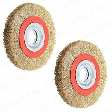 "2x 6"" Wire Brush Wheel w/ Adaptor Rings HEAVY DUTY Use With Bench Grinder Polish"