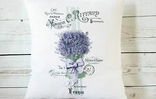 "Provence Lavender - 16"" cushion cover French shabby vintage chic - UK Handmade"