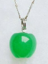 Pretty Emerald Green Jade White Gold Plated Apple Pendant and Necklace