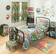 "Kids/Boys Set of 2 Graffiti Slogan Curtains +Single Duvet Set, 66""wx54""d Tie-bks"