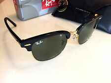 Ray Ban Clubmaster Black Frame Green G-15 XLT Lens 51mm-RB 3016 W0365 AUTHENTIC