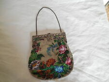 Antique Victorian micro bead purse, handbag w/sterling silver frame Stunning!