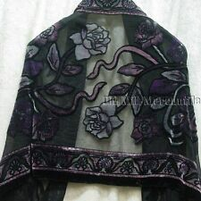 Silk Blend Paisley pattern shawl Victorian style with rose pink and purple