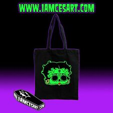 Betty Boop Day of the dead Sugar Skull Dia De Los Muertos Black Tote Bag