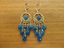 NATURAL TEAL APATITE LG FACETED BRIOLETTE BEADS GOLD FILLED CHANDELIER EARRINGS