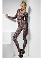 Women's Cat Suit Dance Rave Hen Party Fancy Dress Zebra Leopard Tiger Camo Dye