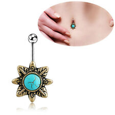 1pc  Vintage Turquoise Belly Button Navel Ring Dangle Body Jewelry Piercing