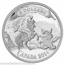 2014 Canada $5 Fine Silver Coin - Saint George Slaying Dragon - D785 - NO TAX
