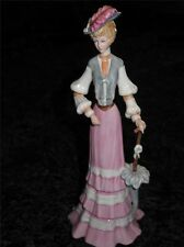 STUNNING Porcelain Figurine Edwardian Lady Pink Dress Parasol Hand Made in Spain