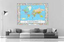 WORLD MAP FLAG OF THE WORLD CARTE DU MONDE Wall Art Poster Grand format A0