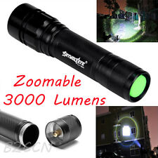 Zoomable 3000 LM 3 Modes CREE XML T6 LED 18650 Flashlight Lamp Focus Torch UK