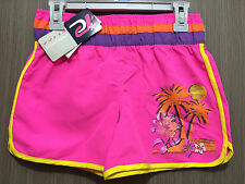 BNWT Girls Sz 12 Pacific Cliff Brand Fluro Pink/Glitter Print Swim Board Shorts