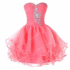 Pink Beaded Cocktail Evening Prom Dress Formal Party Ball gown Short dress