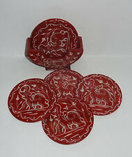 Marble Coaster Set Six Pieces Elephant Hand carved Red Collectible Home Decor