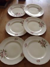 "VINTAGE BLOSSOM TIME ROYAL SWAN DINNER PLATES STAFFORDSHIRE 22K GOLD 10"" X6"