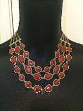 LUCKY BRAND Gold-Tone Red Stone Multi-Layer Drama Necklace NWT L@@K Fast Ship!!
