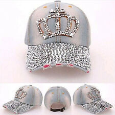 Women Denim Jean Rhinestone  Sparkle Stud Bling Crown Baseball CapM&C
