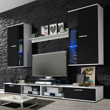 wall unit living room furniture Tv stand cabinets shelf Black&White LED NEW!!