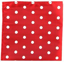 New Men's Polyester Dots Pattern Pocket Square Hankie Only Red / White Dots