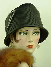 VINTAGE HAT ORIGINAL FRENCH 1920s  CLOCHE BLACK SATIN WITH ART DECO HAT FLASH