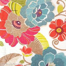 CYNTHIA ROWLEY Tropical Floral QUEEN QUILT 3pc SET Pink Teal Coral Purple COTTON