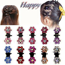 6x/lot Woman Girls Chic Rhinestone Crystal Flower Mini Hair Claws Clips Clamps