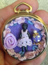 Antique Miniature Black Metal Frozen Charlotte Doll Pocket Watch Case Pendant NR