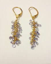FPJ 14K SOLID GOLD 5.71 CTW TANZANITE GRAPE STYLE EARRINGS