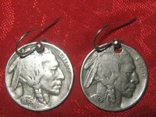 SOUTHWEST REAL AMERICAN USA 1930's  BUFFALO INDIAN HEAD NICKEL COIN EARRINGS