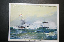 HMS Sunfish  Royal Navy Submarine   Large 1930's Colour Card  VGC