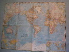VINTAGE THE WORLD WALL  MAP National Geographic November 1960 MINT