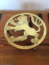 LARGE ANTIQUE VICTORIAN HEAVY RAMPANT LION ENGLISH BRASS TRIVET