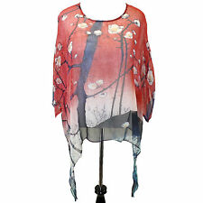 NEW NWT Cocoon House 100 Views of Edo Sheer 100% Silk Pointed Blouse Small / Med