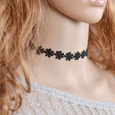 Vintage Rtro Daisy Flower Choker Bib Collar Statement Black Lace Necklace