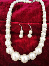 Absolutely Timeless Classy Ivory Pearl Rhinestone Hammock Necklace Earring Set
