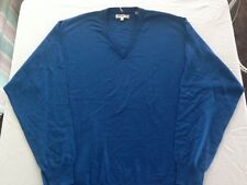New NWT Medium Pringle Mens Blue Wool V-neck Long Sleeve Sweater