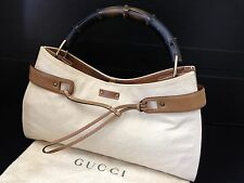 Authentic GUCCI Bamboo Hand Bag Shoulder Light Brown Canvas 6G220050m