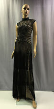 NEW SUE WONG $565 BLACK ILLUSION SWEETHEART EMBELLISHED EVENING GOWN DRESS SZ 0