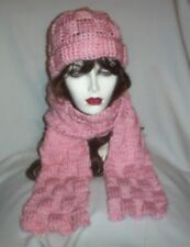 Hand Crochet Pink Basket Weave Hat and Scarf Set - Ready to ship