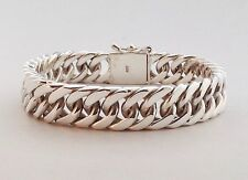 "7.5"" 67g HEAVY CUBAN DOUBLE CURB CHAIN LINK 925 STERLING SILVER MENS BRACELET"