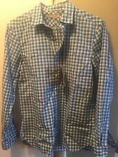 New Authentic Burberry Small Blue Check Knight Logo Chest Men Shirt  M $265
